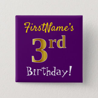 Purple, Faux Gold 3rd Birthday, With Custom Name 15 Cm Square Badge