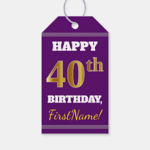 Purple Faux Gold 40th Birthday Custom Name Gift Tags