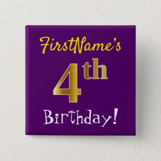 Purple, Faux Gold 4th Birthday, With Custom Name 15 Cm Square Badge
