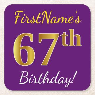 Purple, Faux Gold 67th Birthday + Custom Name Square Paper Coaster