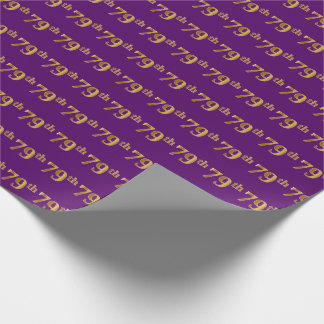 Purple, Faux Gold 79th (Seventy-Ninth) Event Wrapping Paper