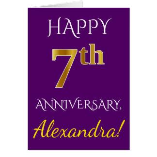 Purple, Faux Gold 7th Wedding Anniversary + Name Card