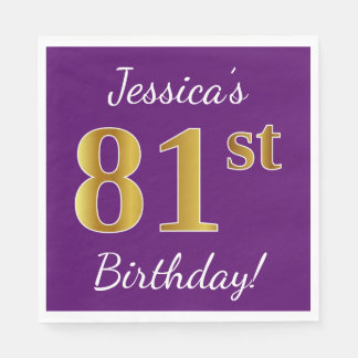 Purple, Faux Gold 81st Birthday + Custom Name Paper Napkins