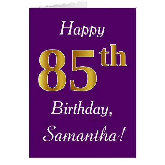 Purple, Faux Gold 85th Birthday + Custom Name