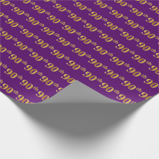 Purple, Faux Gold 90th (Ninetieth) Event Wrapping Paper