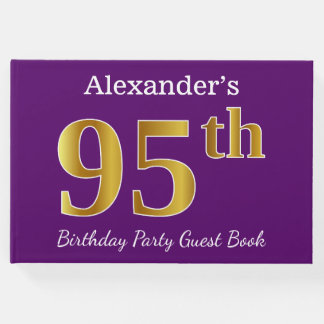 Purple, Faux Gold 95th Birthday Party; Custom Name Guest Book