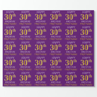 "Purple, Faux Gold ""HAPPY 30th BIRTHDAY"" Wrapping Paper"