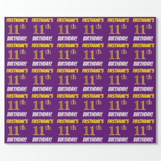 """Purple, Faux/Imitation Gold, """"11th BIRTHDAY"""" Wrapping Paper"""