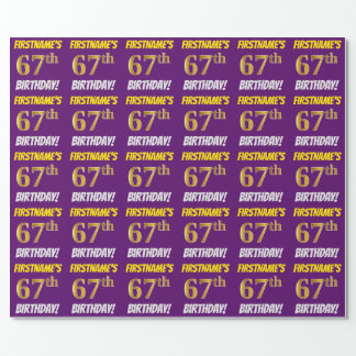 """Purple, Faux/Imitation Gold, """"67th BIRTHDAY"""" Wrapping Paper"""