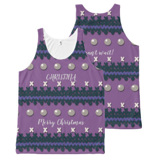 Purple Faux Knitted Ugly Christmas Design All-Over Print Tank Top