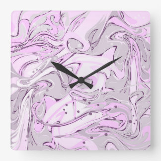 Purple faux marble texture square wall clock