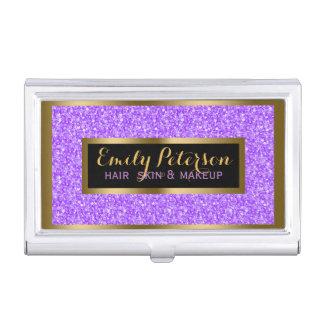 Purple Fax Glitter Gold Accents Makeup Business Card Holder