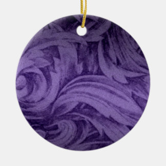 Purple Feather Damask Christmas Ornament