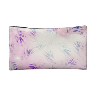 Purple Feather Print Cosmetics Bags