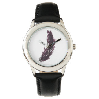 Purple Feather with White Designs Black Watch