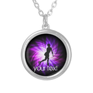 Purple Figure Skating Silver Plated Necklace