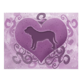 Purple Fila Brasileiro Valentine Postcard