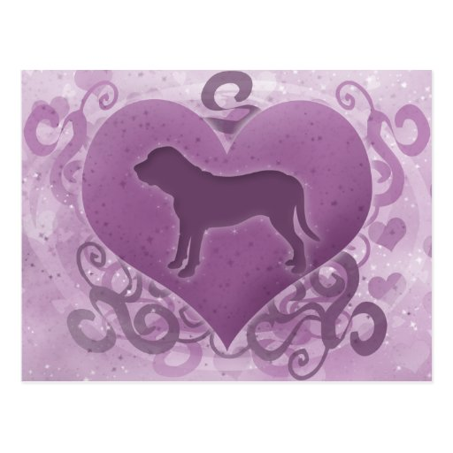 Purple Fila Brasileiro Valentine Postcards
