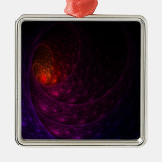 Purple Firework Silver-Colored Square Decoration