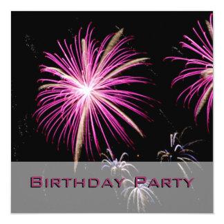 Purple Fireworks Birthday Party Invitation