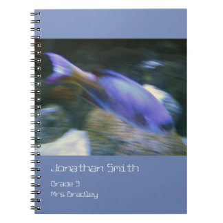 Purple Fish Notebook, Blue, Customizable Spiral Notebook