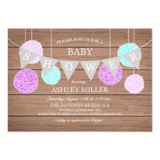 Purple Flags n Fluffs - Baby Shower Invitation