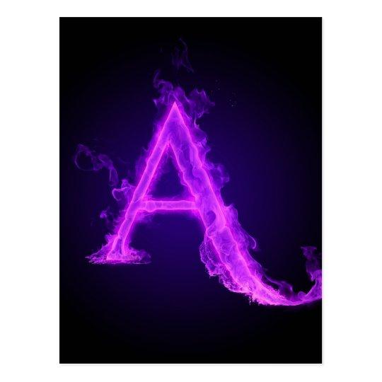 Purple flame alphabet postcard
