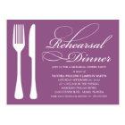 PURPLE FLATWARE   REHEARSAL DINNER INVITE POSTCARD