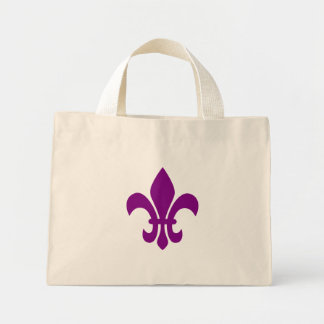 Purple Fleur de Lis Mini Tote Bag