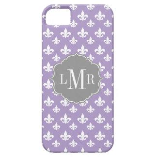 Purple Fleur De Lis Pattern Monogram iPhone 5 Covers