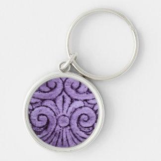 Purple Fleur de Lis Scrolls Carving Design Keychains