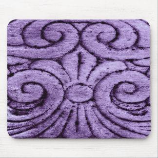 Purple Fleur de Lis Scrolls Carving Design Mouse Pad