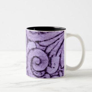 Purple Fleur de Lis Scrolls Carving Design Mugs