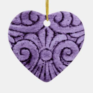 Purple Fleur de Lis Scrolls Carving Design Ornaments
