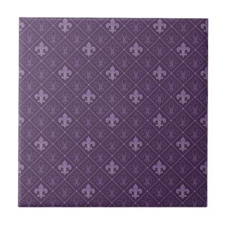 Purple Fleur de Lis Seamless Pattern Small Square Tile