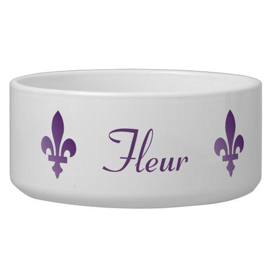 Purple Fleur-de-lys French Francophone Pet Dish