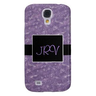Purple Floating Hearts Monogram 3G Phone Case