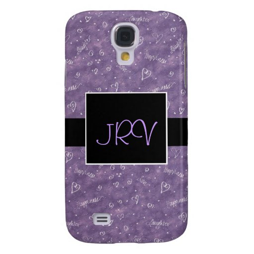 Purple Floating Hearts Monogram 3G Phone Case Galaxy S4 Case