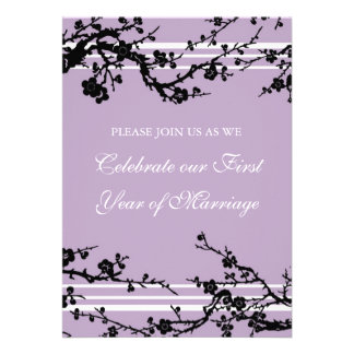 Purple Floral 1st Anniversary Party Invitation