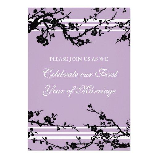 Purple Floral 1st Anniversary Party Invitation