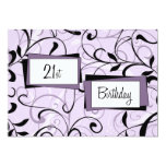 Purple Floral 21st Birthday Party Invitation Cards