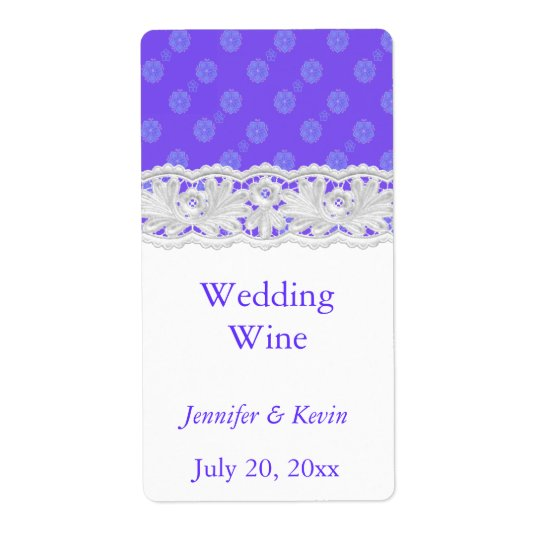 Purple Floral and Lace Wedding Mini Wine Label