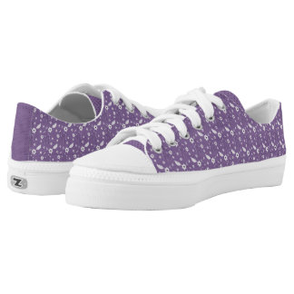 Purple Floral and Polka Dots Low Tops