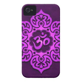 Purple Floral Aum Design iPhone 4 Cover