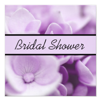 Purple Floral Bridal Shower 5.25x5.25 Square Paper Invitation Card