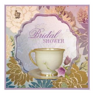 purple floral Bridal Shower Tea Party Invitation