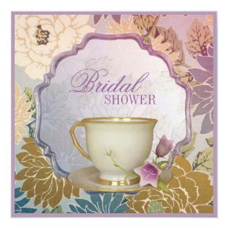 """purple floral Bridal Shower Tea Party Invitation 5.25"""" Square Invitation Card"""