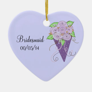 Purple Floral Bridesmaid Bouquet Ceramic Heart Decoration