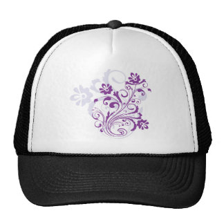 Purple Floral Burst Mesh Hats
