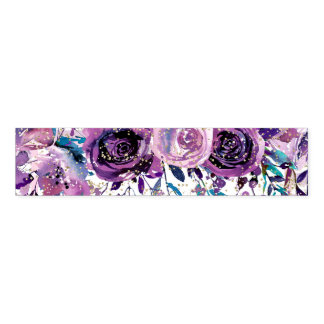 Purple Floral Champagne Gold & Stripes Wedding Napkin Band